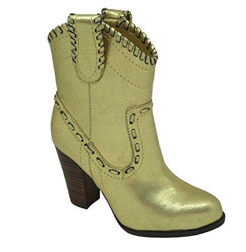 Buffalo London 411-10173 Leather METALLIC PU 152400 Damen Westernstiefel Cowboystiefel, Gold (Gold 73), EU 37