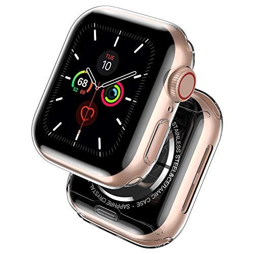 laxikoo 2 Pièces Coque Apple Watch Se/Series 6/5/4 44mm, Couverture Complète Protection écran iWatch 6 Anti-Rayures Transparent Case en TPU Souple Verre trempé pour Apple Watch Série 6/SE/5/4 44mm