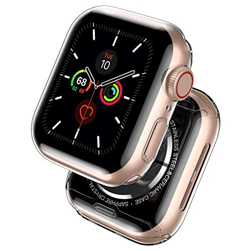 laxikoo 2 Pack Funda para Apple Watch 40mm Series 6/5/4/SE, [Anti-Arañazos] Protector Pantalla iWatch Protección Completo Transparente Carcasa Suave TPU Funda para Apple Watch Series SE/6/5/4 40mm