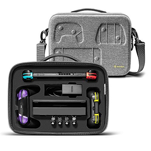 tomtoc Travel Deluxe Storage Hard Case Compatible with Nintendo Switch, Portable Protective Carrying Shoulder Bag with Soft Pad Fit Switch Console, 32 Games & Accessories, Grey