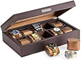 HOUNDSBAY Mariner Oversize Watch Box Display Case | Luxury Carbon Fiber Pattern Interior with 10 Wide Watch Slots to Hold Big Face Watches (Dark Brown)
