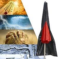 GEMITTO パラソルカバー 210D 伸縮ロッド付き 傘カバー 屋外パラソル用 梅雨対応 四季通用 ブラック ストレートアーム傘に
