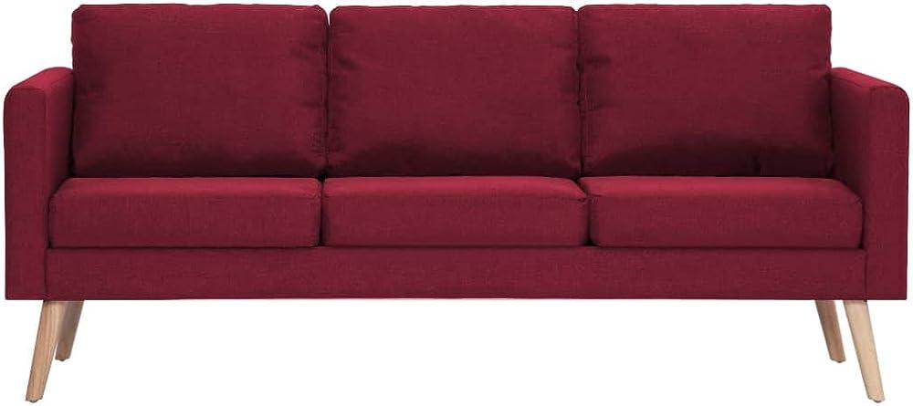 Festnight, divano a 3 posti,moderno divano in tessuto resistente di alta qualita`. rosso UDJ0236570366916OC