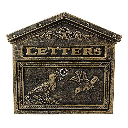 SOFACTY Briefkasten Postkasten Abschließbarer Vertikaler Außen-Briefkasten Retro Antik Vintage Gusseisen Schwarze Oxid für Vögel Wandbriefkasten mit 2 Schlüsseln,Bronze