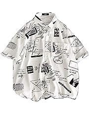 MIMIPO シャツ メンズ 半袖 长袖 カジュアル スポーツ 綿 夏服 オシャレ ヒップシャツ ブラック ホワイト M-2XL
