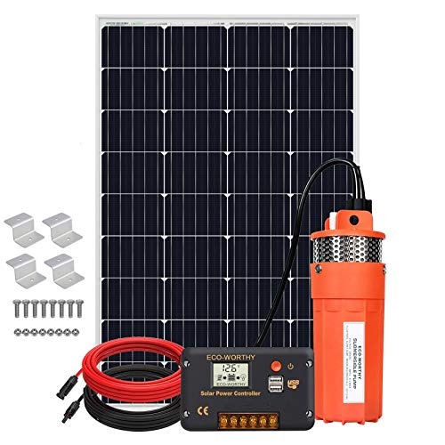 ECO-WORTHY 12V 120W Deep Well Submersible Pump Kit, Large Flow Solar Water Pump + 120W Solar Panel + 20A Charge Controller + 16ft Solar Cable for Deep Well, Irrigation, Human and Animal Using Water