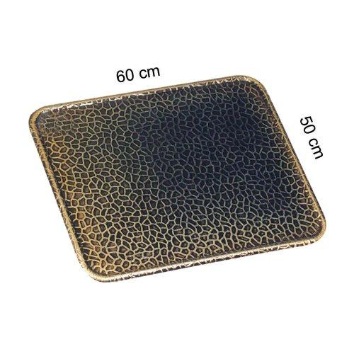 Kamino Flam Kaminbodenplatte aus Altmessing, Funkenschutzplatte für Kaminofen, Bodenblech zum Schutz des Bodens vor Funken, Maße: ca. 50 x 60 cm