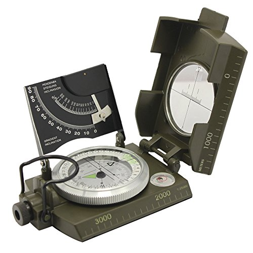 Ueasy Compass,Hiking Boat Military Compass - Multifunction Waterproof with Mirror Guidence Army Metal Sighting Compass
