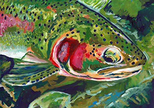 Trout Art, Fly Fishing Gift - Trout Fishing Wall Art. Colorful Fly Fishing Decor Choice of Sizes Modern Fisherman Artwork Print Hand Signed By Jack Tarpon