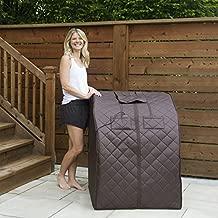 Radiant Saunas BSA6315 Harmony Deluxe Oversized Portable Sauna, Cabin Size: 33.5-in L x 33-in W x 41.5-in H Folded: 41.33-in L x 33-in W x 5.11-in H, Dark Brown