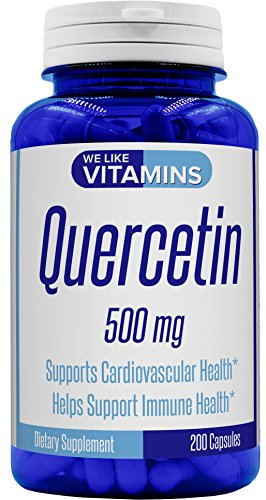 Quercetin 500mg 200 Capsules Natural Antihistamine Quercetin Supplement Helps Support Cardiovascular, Immune, and Cellular Function.