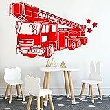 Camion de pompier stickers muraux dessin animé bouche d'incendie voiture véhicule mur maternelle intérieur stickers muraux chambre d'enfants A8 65x42cm