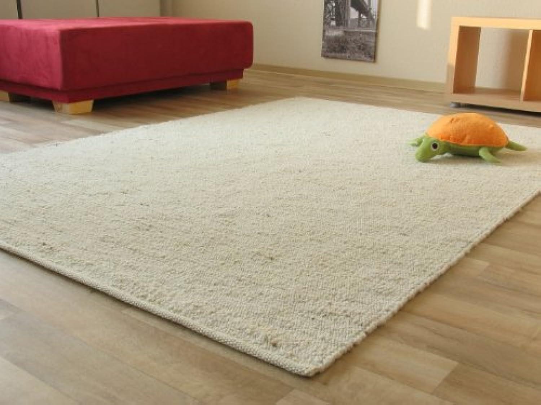 Landshut Handweb Teppich aus 100% Schurwolle - natur hell, Gre  200x240 cm