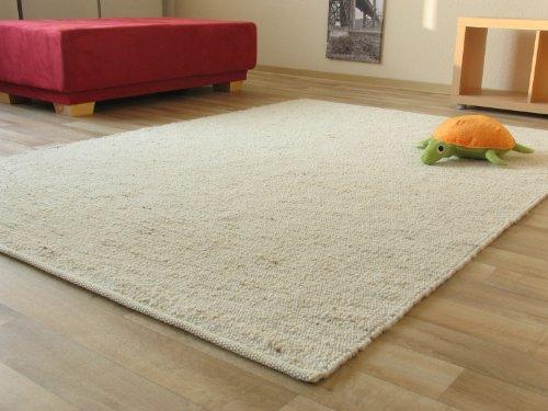 Landshut Handweb Teppich aus 100% Schurwolle - natur hell, Größe: 90x160 cm