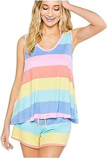kolila Womens Short Pajamas Set Rainbow Stripes Printed Tops and Shorts PJ Set Loungewear Nightwear Sleepwear