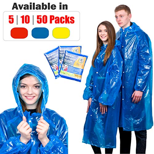Extra Thick Disposable Emergency Rain Ponchos ~ Premium Quality, Lightweight, Waterproof & Tear Resistant ~ for Hiking, Tours, Sightseeing, Disney, Festivals by KeepDry! (5 Pack, Blue)