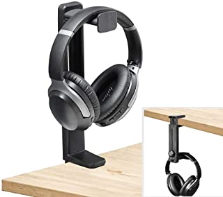 Neetto HS906 Headphone Stand and Hanger 2 in 1, Black Desk Earphone Holder Mount Hook Rack with Height Adjustable, Gaming ...