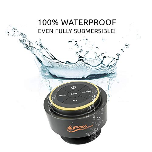 iFox iF012 Bluetooth Shower Speaker – Certified Waterproof – Wireless It Pairs Easily To All Your Bluetooth Devices – Phones, Tablets, Computer, Radio