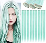 JCM Light Green Hair Etensions Party Highlights Straight Clip in/on Colored Hair Streak Synthetic Hairpieces 9PCS(Mint Green)