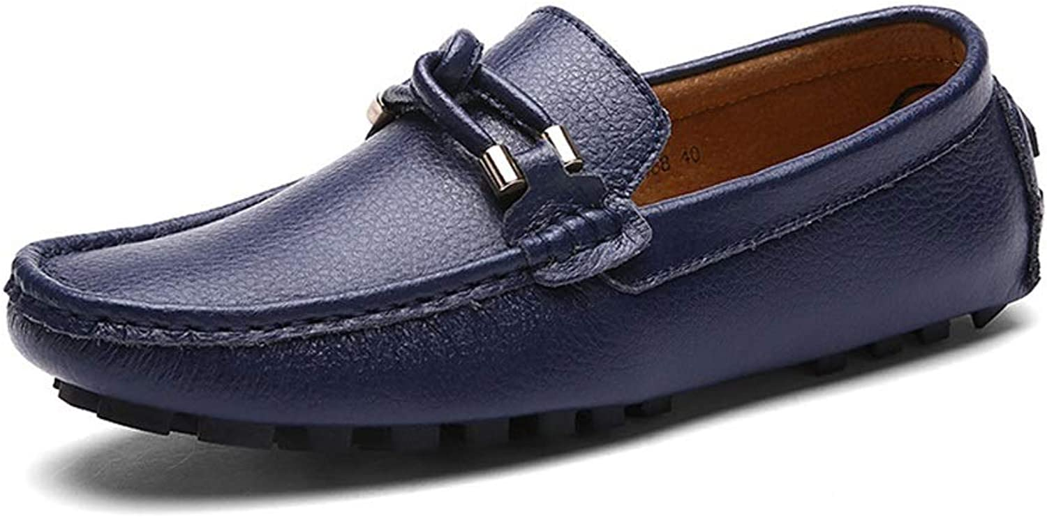 Leather Men's Peas shoes shoes Breathable Casual Lazy shoes (color   Dark blueee, Size   43)