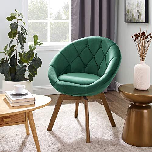 Volans Mid Century Modern Velvet Tufted Round Back Upholstered Swivel Accent Chair Dark Green with Wood Legs for Living Room Bedroom Vanity Desk