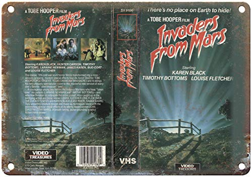 Vintage Retro Aluminum Sign Invaders from Mars VHS Box Art Tobe Hooper Metal Sign 10 X 14 Inches