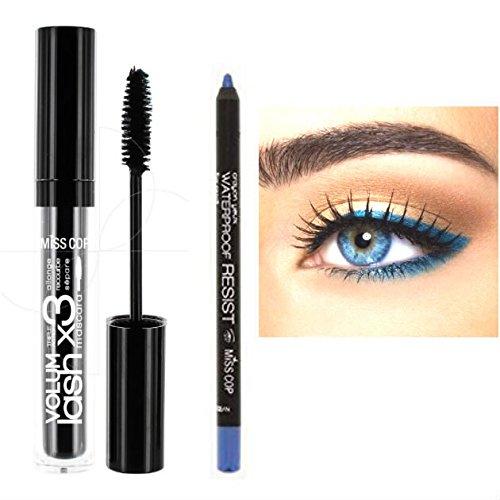 Mascara-Set, für mehr Volumen der Wimpern, Blau + Kajal, wasserfest, Ozeanblau