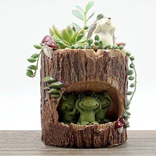 OULII Niedlicher grüner Frosch-Blumensedum, Sukkulenten-Blumentopf, Bonsai, Pflanzenbox, Bed Garden Home Office Schreibtisch Pot Decor