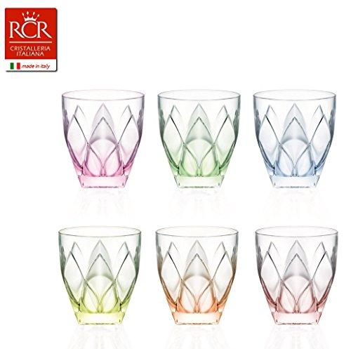 Rcr Ninphea Color glazen, glas, gemengde kleuren, verpakking van 6 stuks, 33 cl