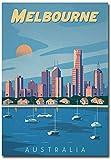 Melbourne Australia Travel Vintage Art Refrigerator Magnet Size 2.5' x 3.5'