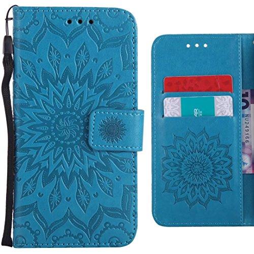 Ougger Handyhülle für ZTE Blade L110 (A110) Hülle, Blühende Blumen Tasche Leder Schutzhülle Schale Weich TPU Silikon Magnetisch-Stehen Cover Tasche ZTE Blade L110 mit Kartenslot (Blau)