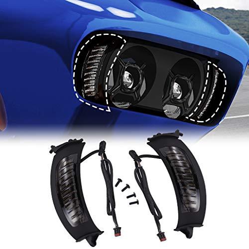 Z-OFFROAD 2pcs LED Vent Turn Signal Lights w/DRL for 2015-2020 Harley Road Glide Motorcycles Daytime Running Side Lights – Black