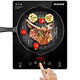 SUNAVO Portable Induction Hob, 2000W Sensor Touch Induction Cooker, Induction Cooktop with 15 Temperature or Power Setting, Safety Lock and Timer