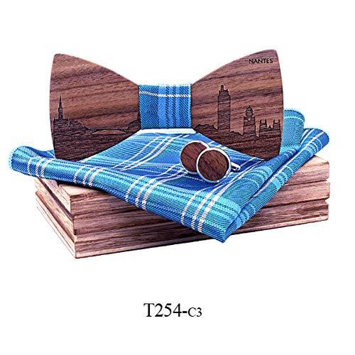 DYDONGWL Krawatten Herren,Holz Fliege,Walnuss Holz Holz Fliegen Schmetterling Krawatten für Männer Manschettenknöpfe cravate