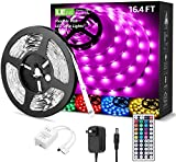 LED Strip Lights 16.4ft, RGB LED Light Strip, 5050 SMD LED Color Changing Tape Light with 44 Key Remote and 12V Power Supply, LED Lights for Bedroom, Home Decoration, TV Backlight, Kitchen, Bar