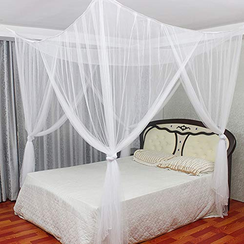 ARTIFUN Mosquito Netting Bed Canopy:4 Corner Summer Large Bed Netting Curtain, 4 Entries, for Keeps Away Insects & Flies, Size:75x83x94 inch