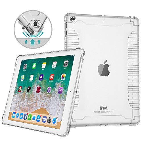 MoKo Funda para iPad 9.7 2018/2017,Transparente a Prueba de Golpes TPU Cubierta Trasera del Parachoques de Piel con Protector de Airbag de Esquina para iPad de Apple 9.7 (iPad 5, iPad 6),Transparente