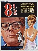 8年半81/2 FedericoFelliniイタリアレトロヴィンテージ映画映画装飾ポスター壁キャンバス家の装飾寝室の壁の装飾50x70cmフレームなし
