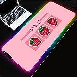 Kawaii Pink RGB Alfombrilla de ratón Sweet Strawberry Milk para Jugadores Decoracion PC Gamer Desk LED Gaming Accesorios Teclado Mat-400x900mm_Color_A