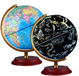Best World Globes - Illuminated World Globe With Wooden base Night View Review