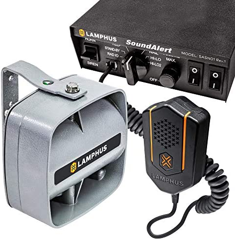 SoundAlert 100W Emergency Police Siren Kit [120-130dB Compact Speaker] [2 x 16A Switch Control] [Hands-Free Air Horn] [PTT Mic] [Radio Rebroadcast] Warning PA System for Emergency Vehicle Trucks Cars