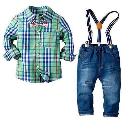 Disfraz Bebé Nino Ropita Niñito Traje del Bautismo Tops + Jeans + Pajarita Verde Rejilla 3-4 Años