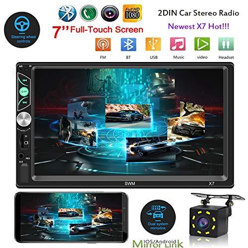 Yissma autoradio, touchscreen, touchscreen, navigatie, dual DIN, 7 inch, HD, touchscreen, Bluetooth, FM, radio, USB, MP5-speler, houder voor telefoon, spiegel, auto, achteruitrijcamera en afstandsbediening op het stuur