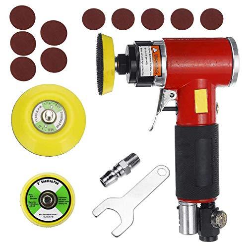 HONYGE LXGANG Abrasivo 5 neumática de Alta Velocidad de la máquina de lijar Aire Sander con Interruptor pulsador y Lijado Pad for Pulido Rectificado Herramientas