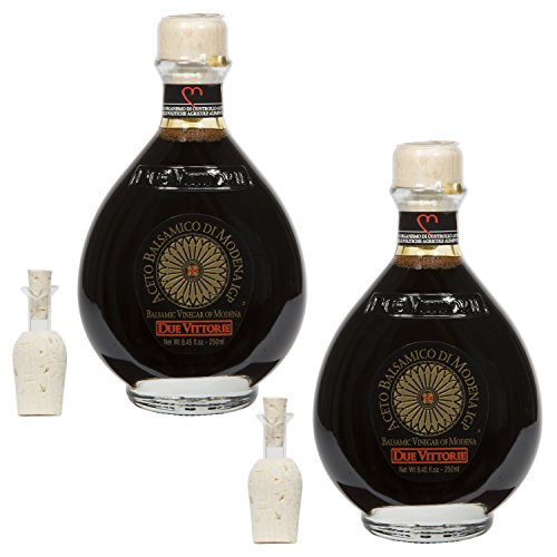 Due Vittorie Oro Gold Balsamic Vinegar with Pourer, 8.45fl oz / 250ml (2 pack)