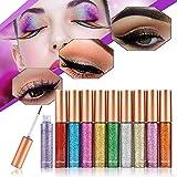 10 Colori/Set Glitter Ombretto Liquido Eyeliner,MS. Dear Liquid Glitter Eyeliner Impermeabile Professionale Eyeshadow Makeup Trucco Occhi Cosmetic