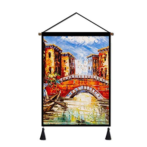 Venice Italy Boat Canvas Poster Hanging, Decorative Wall Art for Home Office Living Room Bedroom with Hanger Scroll Frame Ready to Hang