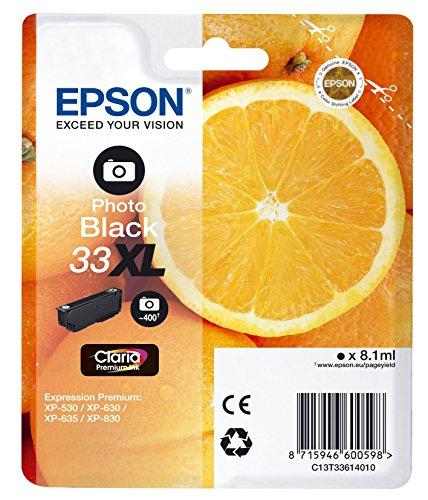 Epson Original 33XL Tinte Orange (XP-530 XP-630 XP-635 XP-830 XP-540 XP-640 XP-645 XP-900 XP-7100, Amazon Dash Replenishment-fähig) fotoschwarz