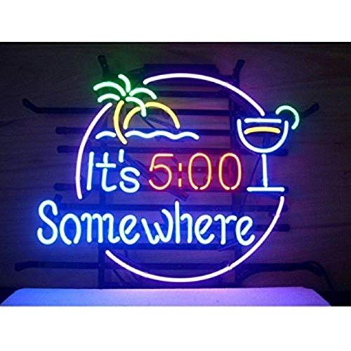 It's 5:00 Somewhere Glass Neon Sign