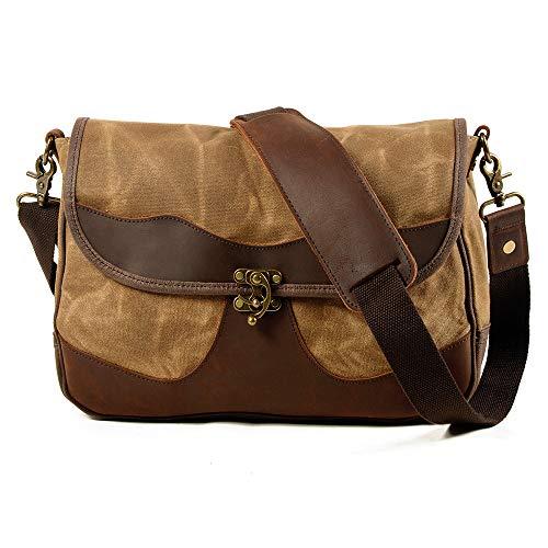 BYEON Kleiner Messenger Bag, Vintage-Segeltuch-Leder Leichte Umhängetasche Tasche,Khaki